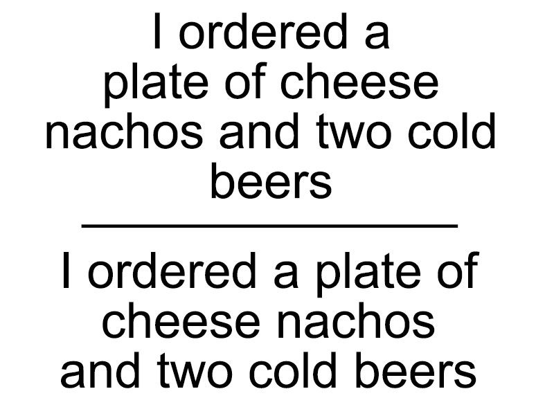 Quote Layout: an example with nachos and beer