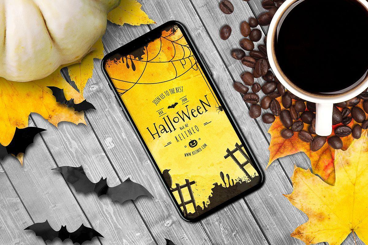 Halloween iphone invite mockup
