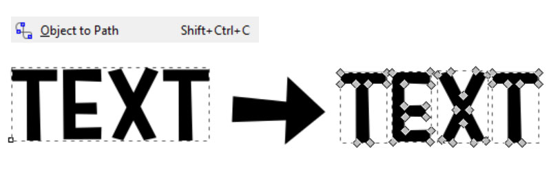 Inkscape Path Menu: Object to Path