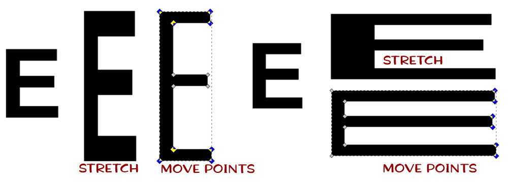 Text in a Shape: stretching vs moving points