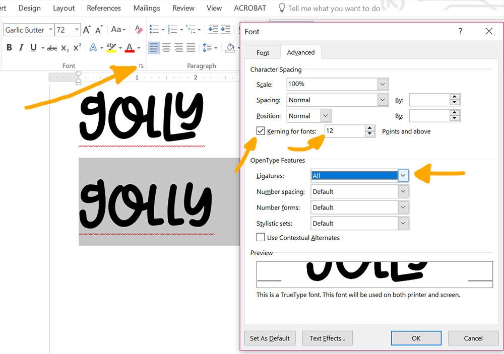 Program Comparison: Word OpenType features