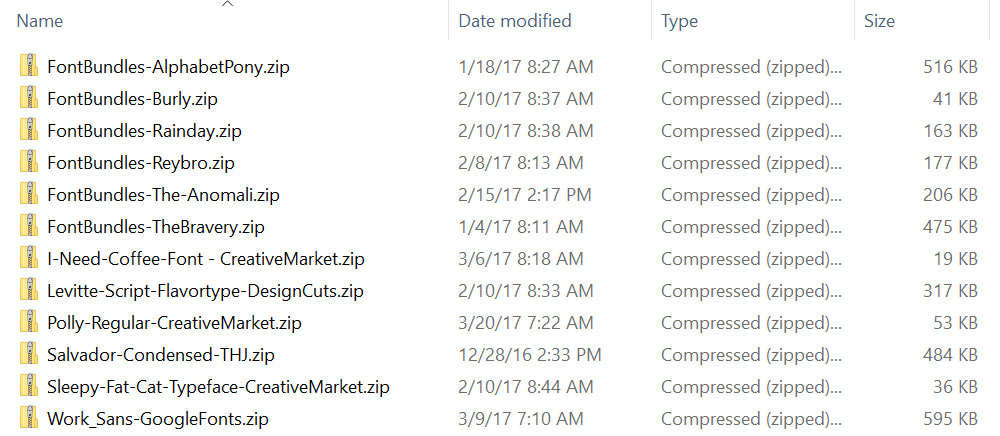Managing Fonts: renaming folders for storage