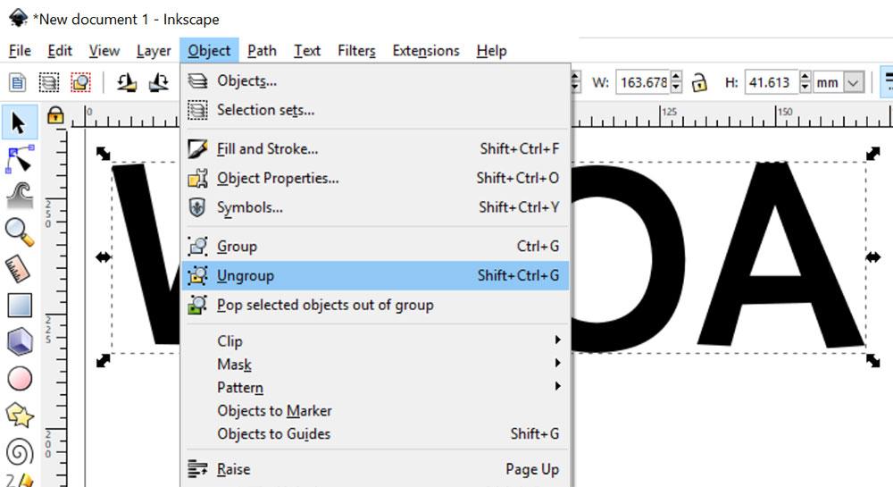 3-D Effect: ungroup the letters