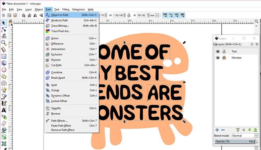 Text in a Shape: convert text to vector objects
