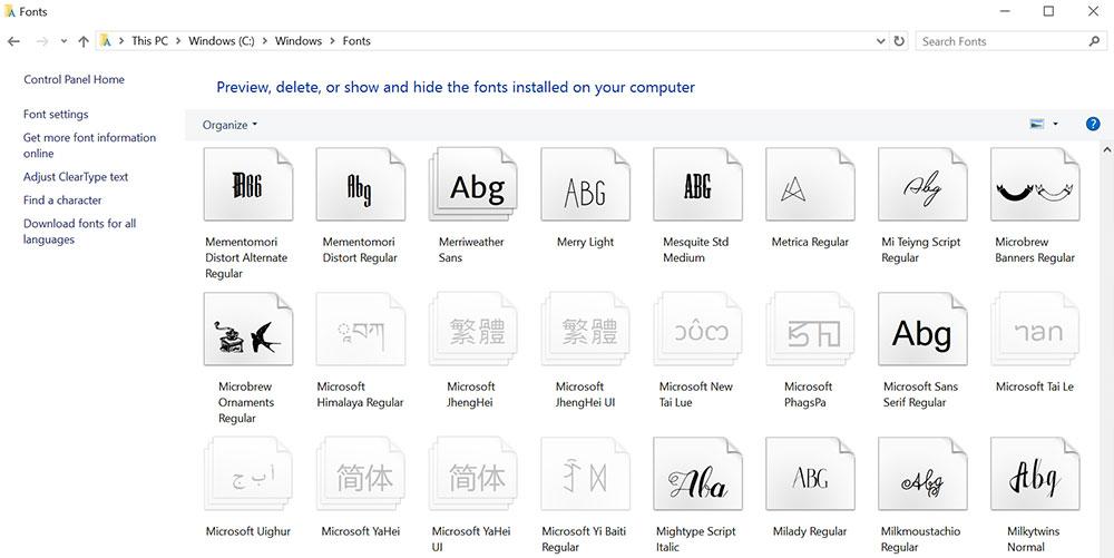 Managing Fonts: the Windows fonts folder