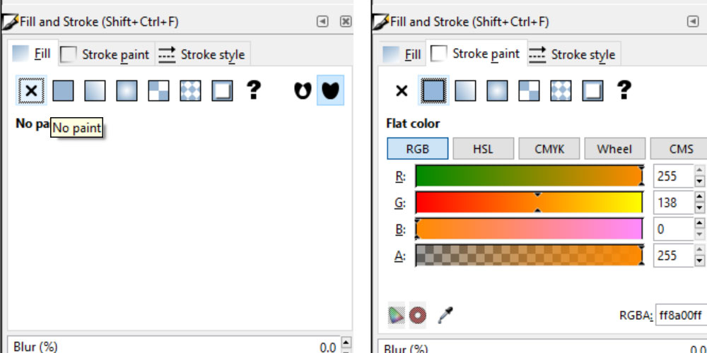 Stitch Inkscape: fill and stroke