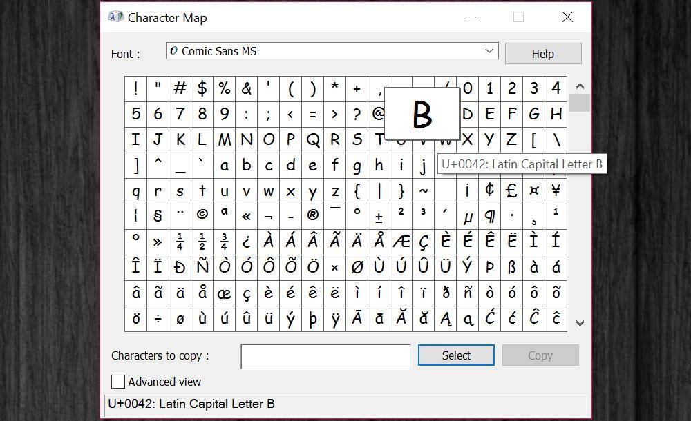 Managing Fonts: Windows Character Map