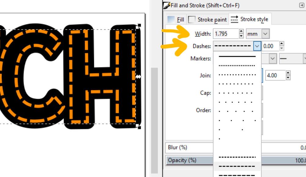 Stitch Inkscape: editing dashes