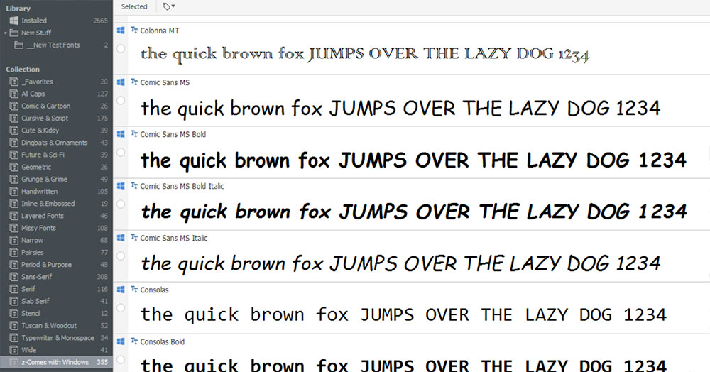 Managing Fonts: NexusFont main screen