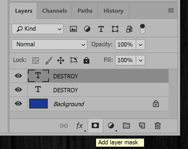 Distressing Fonts: adding a layer mask