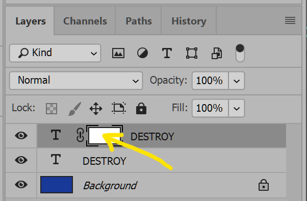 Distressing Fonts: editing the layer mask