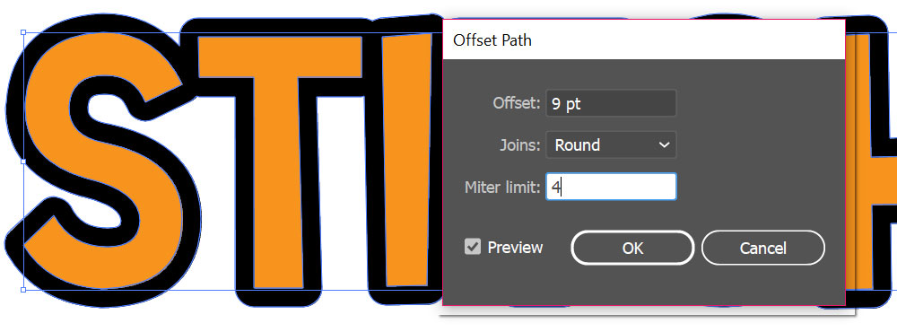 Stitch Illustrator: offset dialog box