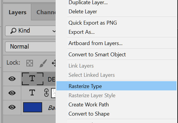 Distressing Fonts: rasterize a type layer