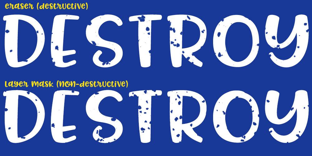 Distressing Fonts: brush vs layer mask