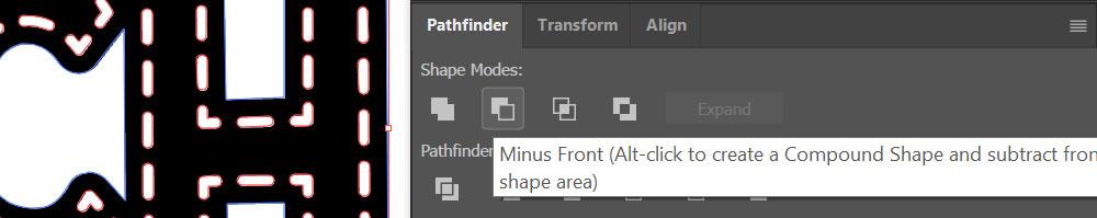 Stitch Illustrator: minus with pathfinder