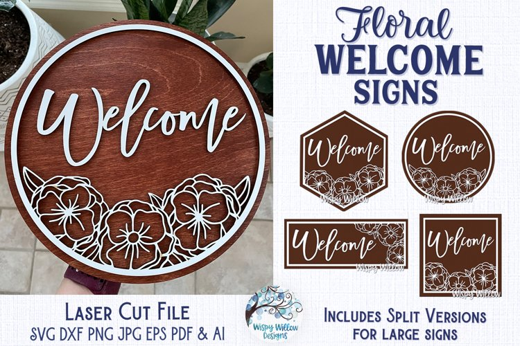 Floral Welcome Signs for Glowforge or Laser Cutter example image 1