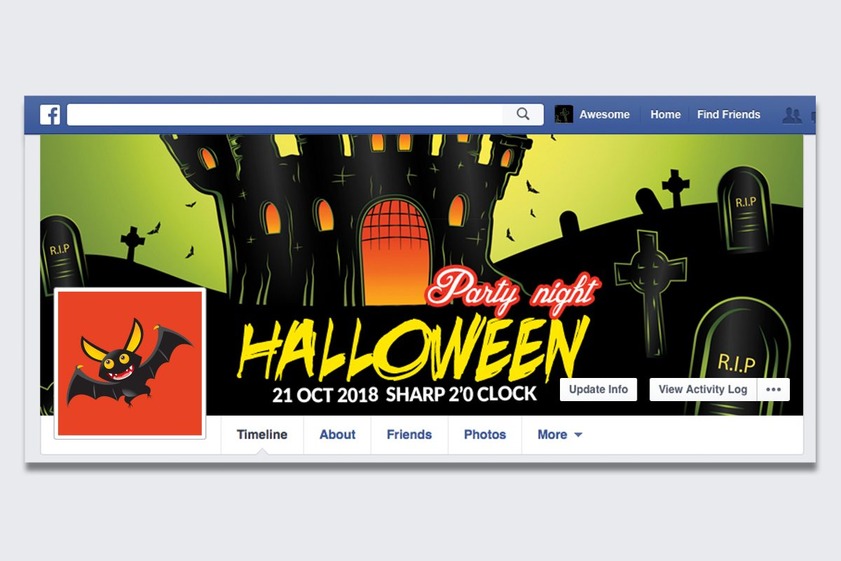 Halloween party night facebook cover