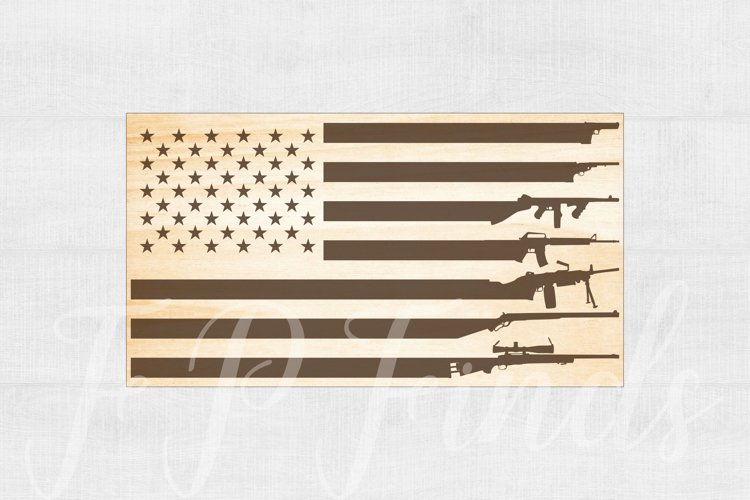 American Flag Gun Glowforge SVG File example image 1