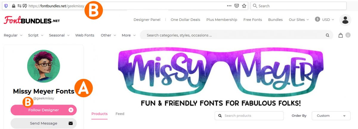 Design Bundles new store application - where your store name and URL appear