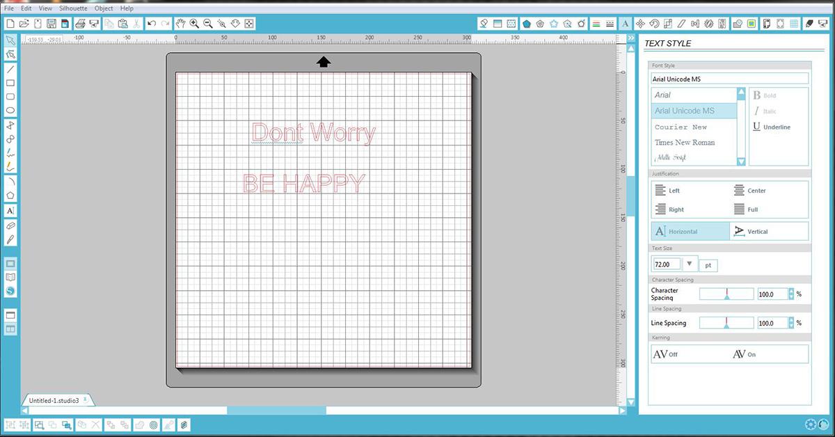 Write message in silhouette studio