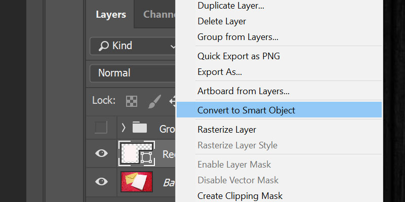 Mockups: converting to Smart Object