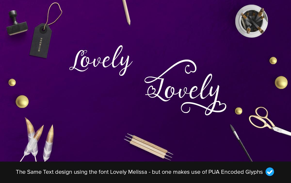 lovely melissa extra font glyphs