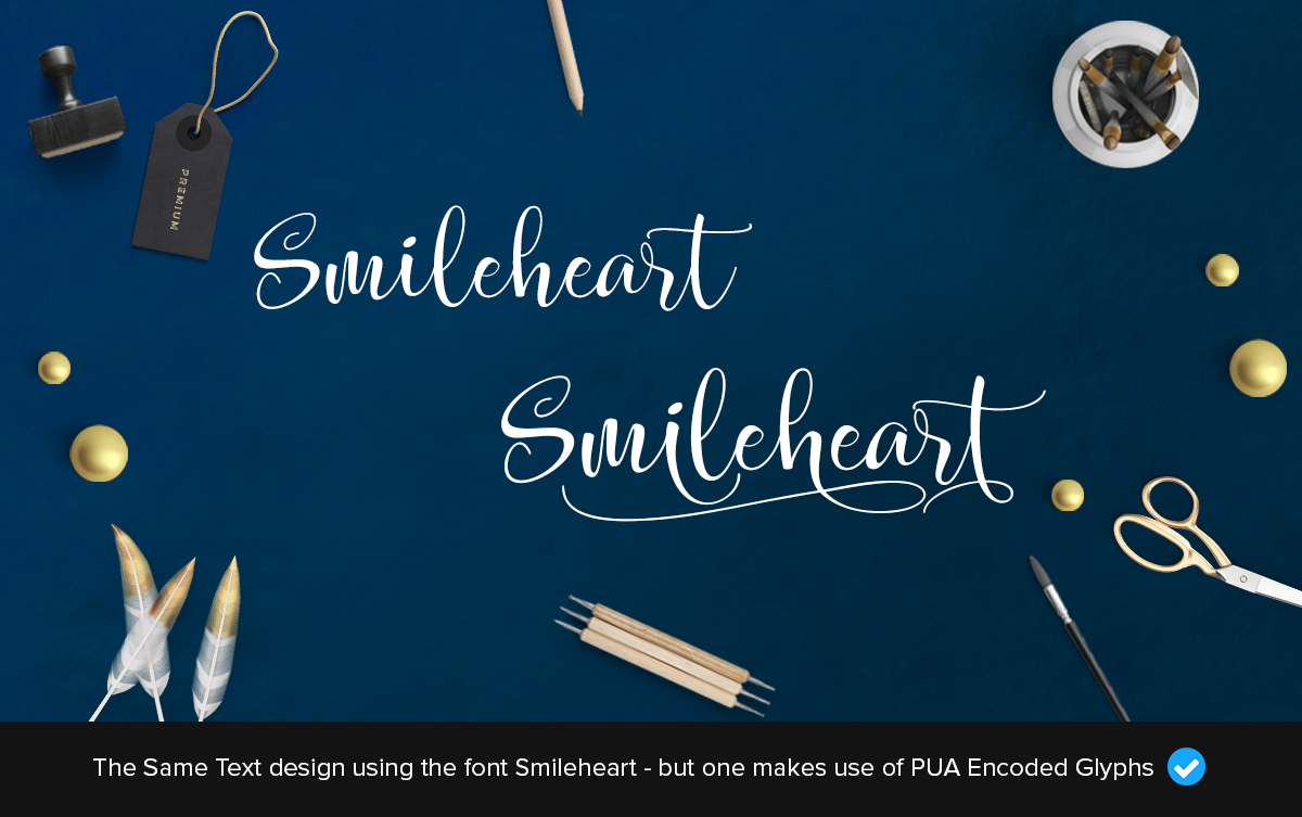 smileheart fancy pua encoded font