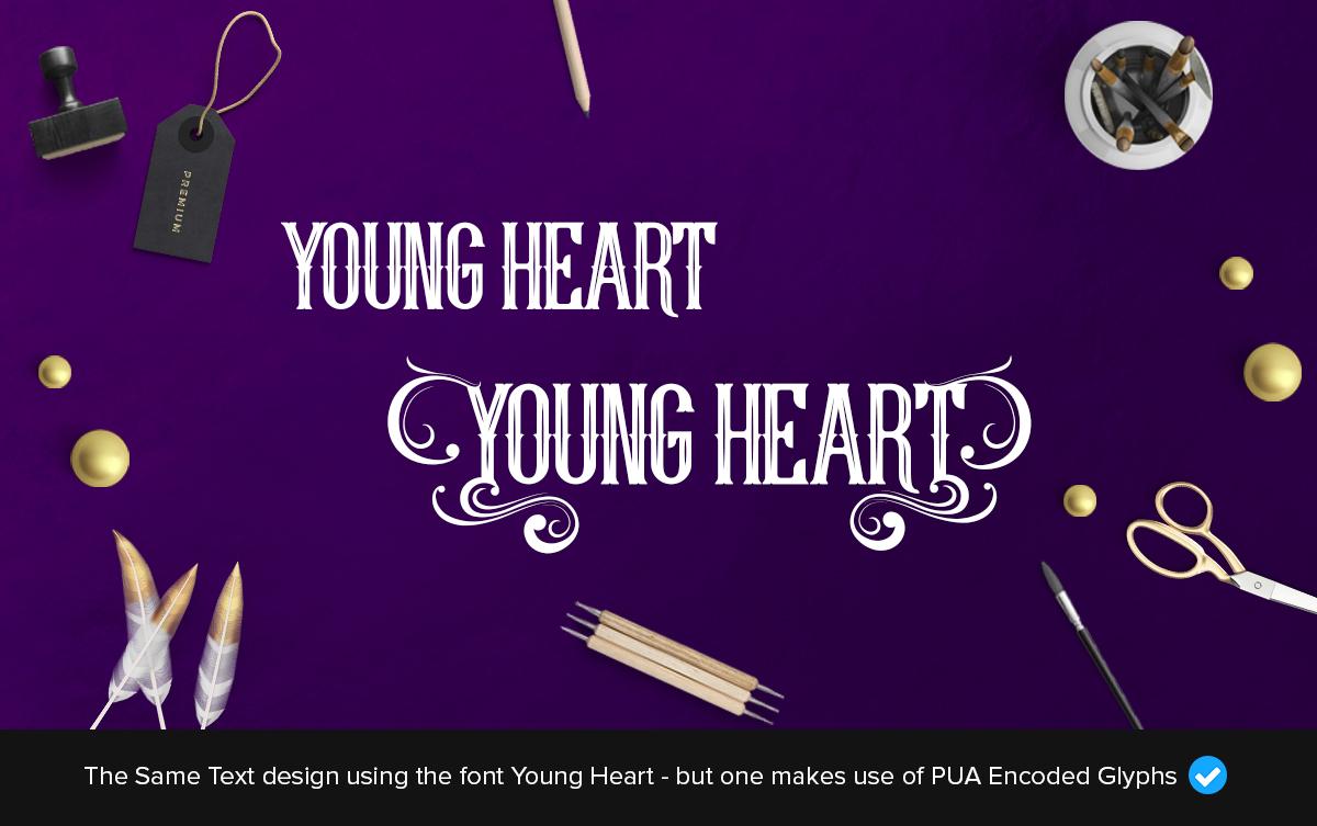 young heart fancy font glyphs