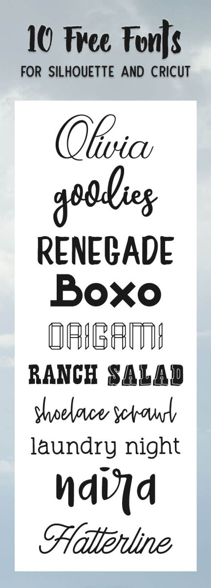 Free Fonts to use with your Silhouette or Cricut