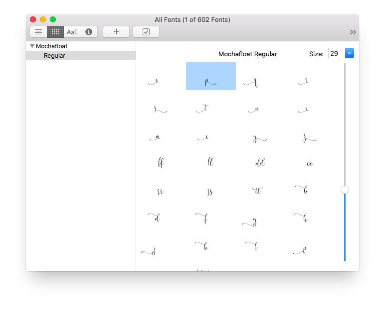 mochafloat font book mac