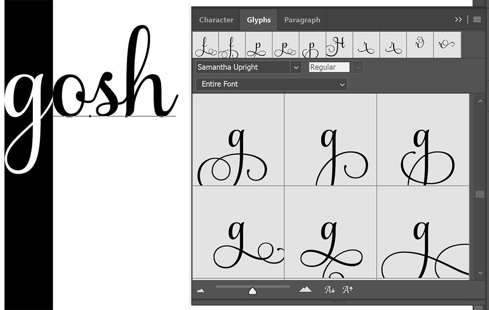 Program Comparison: Photoshop Glyphs menu