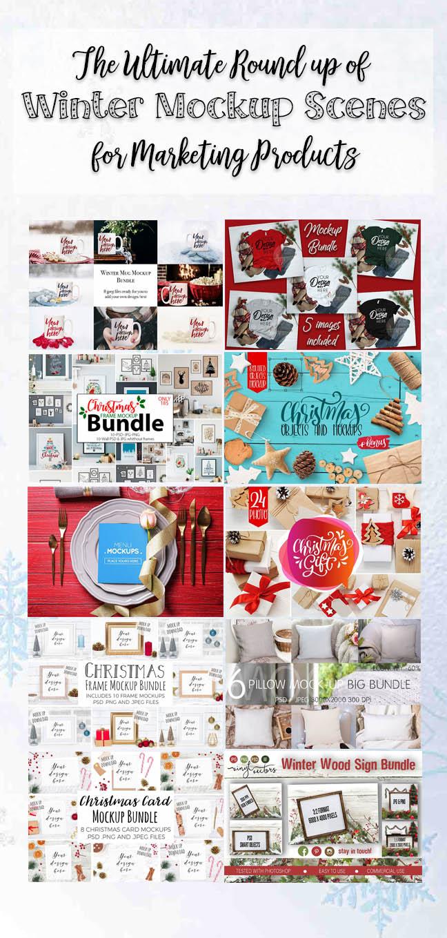 10 Winter Scene Mockups for Product marketing